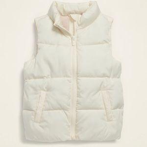 NWT Girls Ivory Puffer Vest, Size M (8)